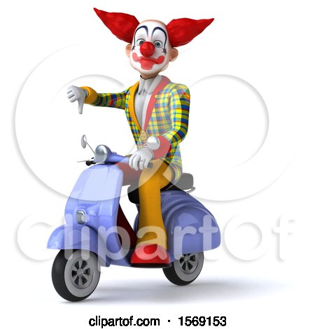 Clipart of a 3d Funky Clown Riding a Scooter, on a White Background - Royalty Free Illustration by Julos