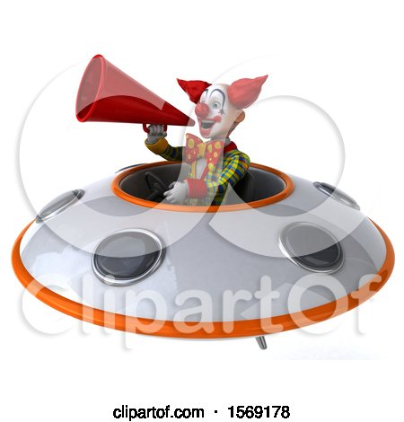 Clipart of a 3d Funky Clown Flying a Ufo, on a White Background - Royalty Free Illustration by Julos