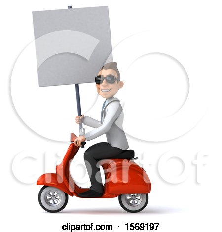 Clipart of a 3d White Male Doctor Riding a Scooter, on a White Background - Royalty Free Illustration by Julos