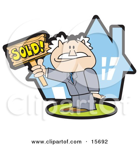 Successful Male Realtor Standing In Front Of A House And Holding A Sold Sign Posters, Art Prints
