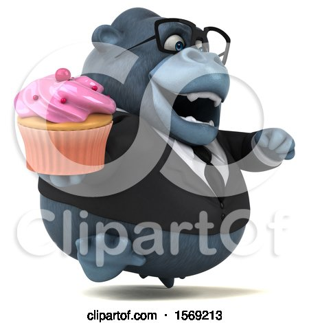 Clipart of a 3d Business Gorilla Holding a Cupcake, on a White Background - Royalty Free Illustration by Julos