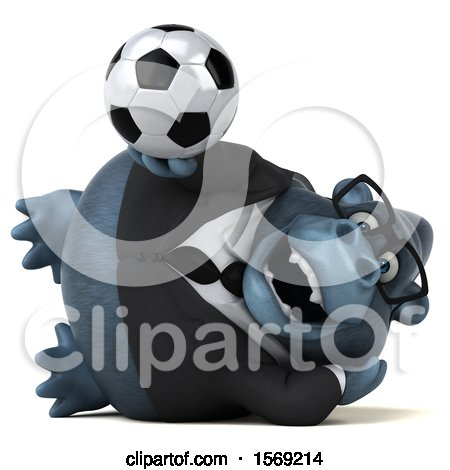 Clipart of a 3d Business Gorilla Holding a Soccer Ball, on a White Background - Royalty Free Illustration by Julos