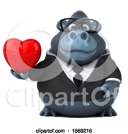 Clipart of a 3d Business Gorilla Holding a Heart, on a White Background - Royalty Free Illustration by Julos