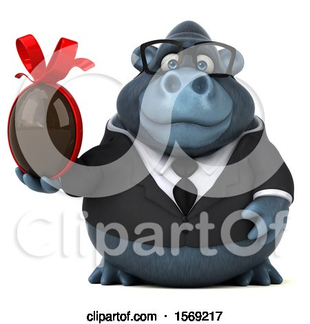 Clipart of a 3d Business Gorilla Holding a Chocolate Egg, on a White Background - Royalty Free Illustration by Julos