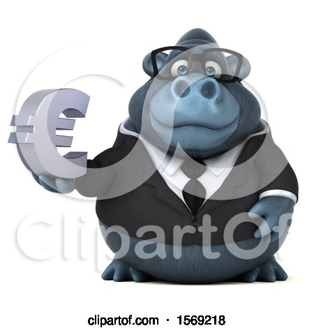 Clipart of a 3d Business Gorilla Holding a Euro, on a White Background - Royalty Free Illustration by Julos