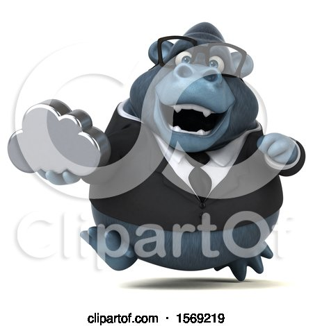 Clipart of a 3d Business Gorilla Holding a Cloud, on a White Background - Royalty Free Illustration by Julos
