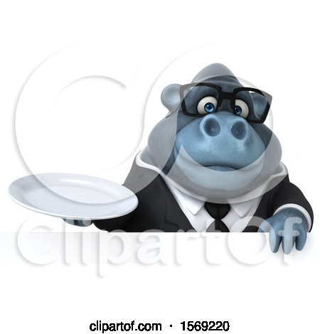 Clipart of a 3d Business Gorilla Holding a Plate, on a White Background - Royalty Free Illustration by Julos