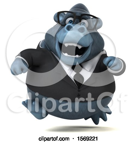 Clipart of a 3d Business Gorilla Running, on a White Background - Royalty Free Illustration by Julos