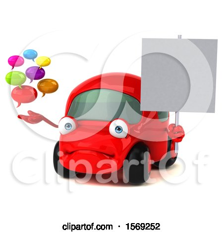 Clipart of a 3d Red Car Holding Messages, on a White Background - Royalty Free Illustration by Julos