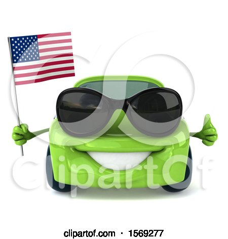 Clipart of a 3d Green Porsche Car Holding an American Flag, on a White Background - Royalty Free Illustration by Julos