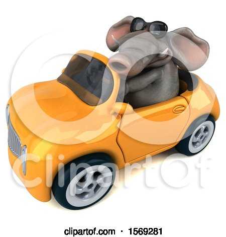 Clipart of a 3d Elephant Driving a Convertible, on a White Background - Royalty Free Illustration by Julos