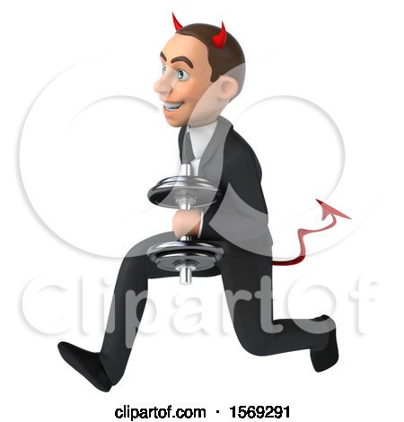 Clipart of a 3d White Devil Business Man Holding a Dumbbell, on a White Background - Royalty Free Illustration by Julos