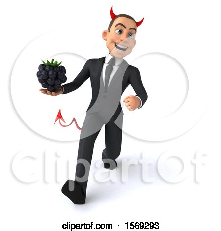 Clipart of a 3d White Devil Business Man Holding a Blackberry, on a White Background - Royalty Free Illustration by Julos