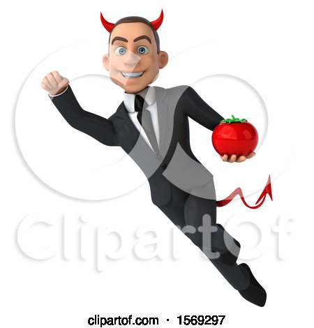 Clipart of a 3d White Devil Business Man Holding a Tomato, on a White Background - Royalty Free Illustration by Julos