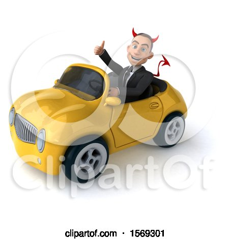 Clipart of a 3d White Devil Business Man Driving a Convertible, on a White Background - Royalty Free Illustration by Julos