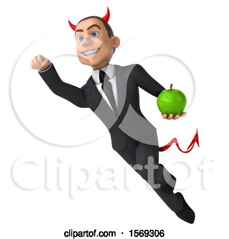 Clipart of a 3d White Devil Business Man Holding an Apple, on a White Background - Royalty Free Illustration by Julos