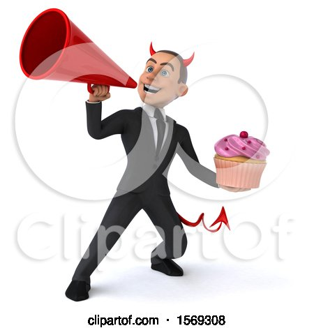 Clipart of a 3d White Devil Business Man Holding a Cupcake, on a White Background - Royalty Free Illustration by Julos