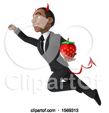 Clipart of a 3d Young Black Devil Business Man Holding a Strawberry, on a White Background - Royalty Free Illustration by Julos
