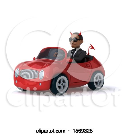 Clipart of a 3d Young Black Devil Business Man Driving a Convertible, on a White Background - Royalty Free Illustration by Julos