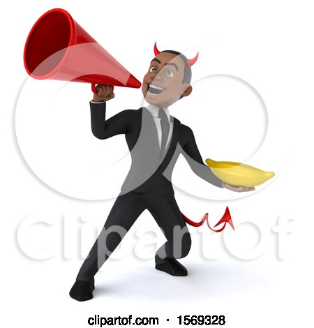 Clipart of a 3d Young Black Devil Business Man Holding a Banana, on a White Background - Royalty Free Illustration by Julos