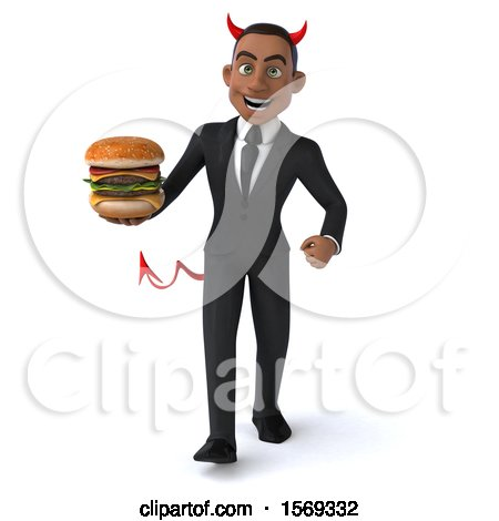 Clipart of a 3d Young Black Devil Business Man Holding a Burger, on a White Background - Royalty Free Illustration by Julos