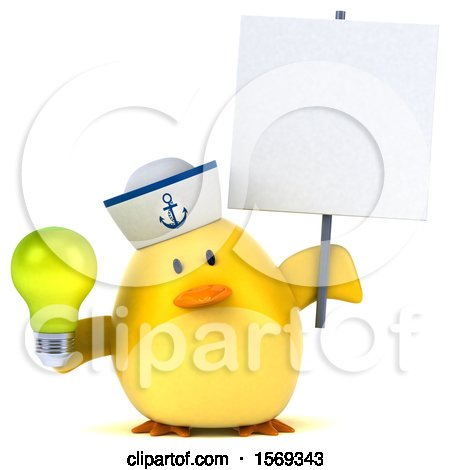 Clipart of a 3d Yellow Bird Sailor Holding a Light Bulb, on a White Background - Royalty Free Illustration by Julos
