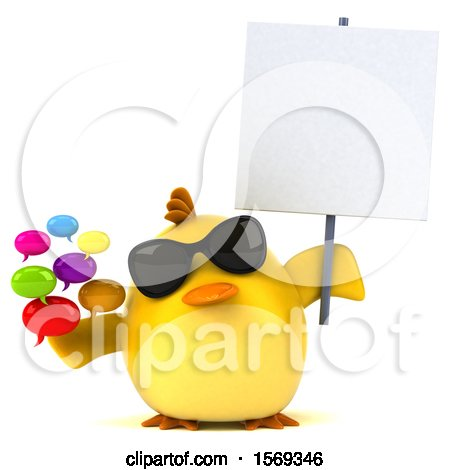 Clipart of a 3d Yellow Bird Holding Messages, on a White Background - Royalty Free Illustration by Julos