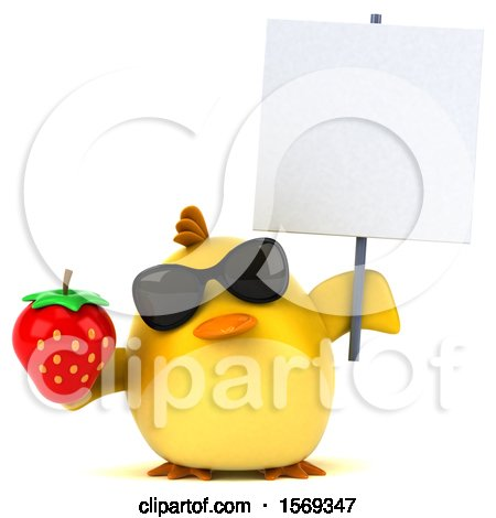 Clipart of a 3d Yellow Bird Holding a Strawberry, on a White Background - Royalty Free Illustration by Julos