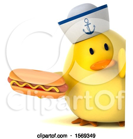 Clipart of a 3d Yellow Bird Sailor Holding a Hot Dog, on a White Background - Royalty Free Illustration by Julos
