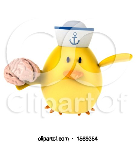 Clipart of a 3d Yellow Bird Sailor Holding a Brain, on a White Background - Royalty Free Illustration by Julos