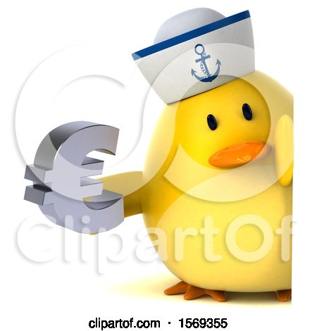 Clipart of a 3d Yellow Bird Sailor Holding a Euro, on a White Background - Royalty Free Illustration by Julos