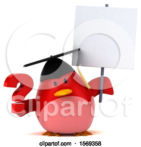 Clipart of a 3d Chubby Red Bird Graduate Holding a Question Mark, on a White Background - Royalty Free Illustration by Julos
