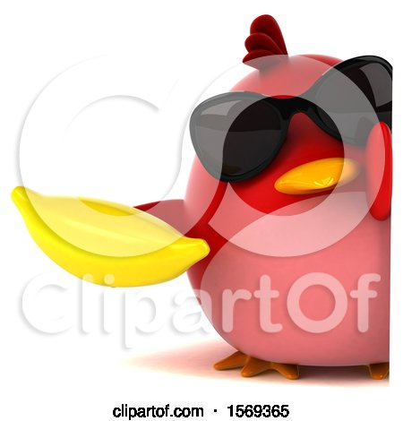 Clipart of a 3d Red Bird Holding a Banana, on a White Background - Royalty Free Illustration by Julos
