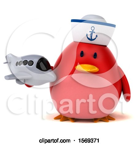 Clipart of a 3d Chubby Red Bird Sailor Holding a Plane, on a White Background - Royalty Free Illustration by Julos