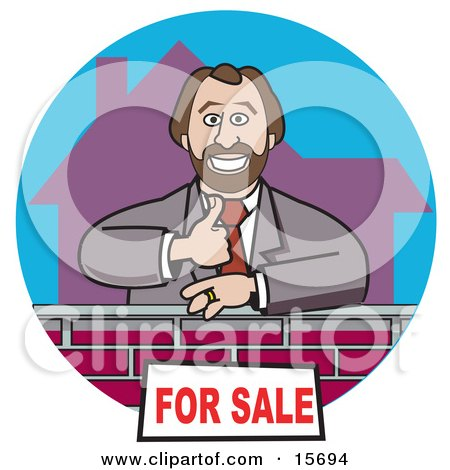 Male Real Estate Agent Giving The Thumbs Up And Standing By A For Sale Sign On A Home Clipart Illustration by Andy Nortnik