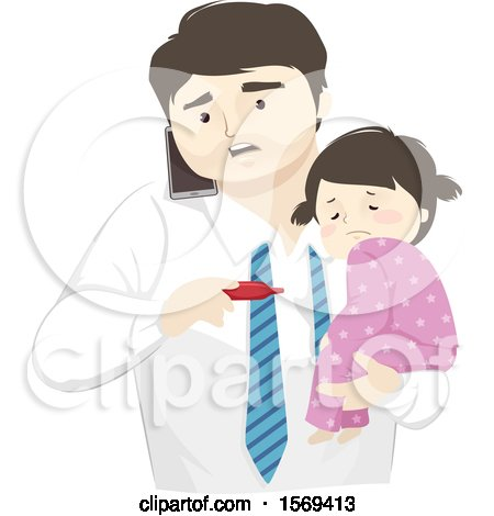 Clipart of a Dad Holding His Sick Daughter and Taking Her Temperature While Calling the Doctor - Royalty Free Vector Illustration by BNP Design Studio
