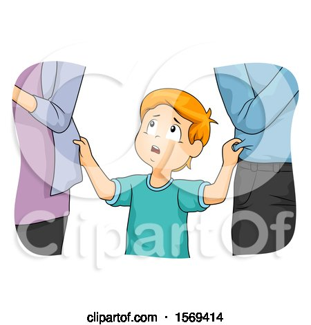 Clipart of a Boy Between His Two Neglectful Parents - Royalty Free Vector Illustration by BNP Design Studio