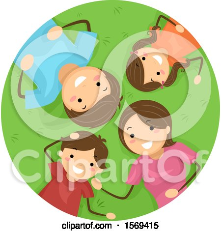 Clipart of a Happy Family Laying on Grass - Royalty Free Vector Illustration by BNP Design Studio
