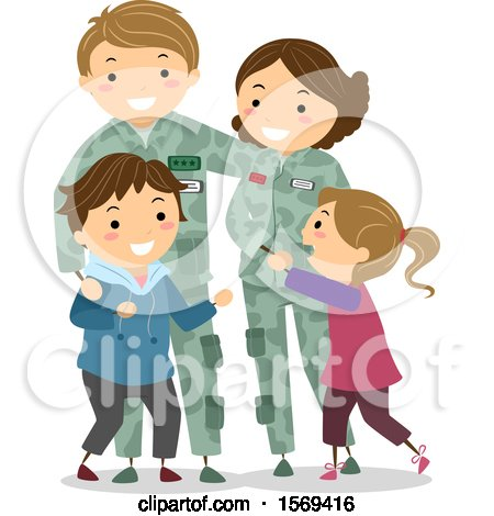 Clipart of a Happy Family with Military Parents - Royalty Free Vector Illustration by BNP Design Studio