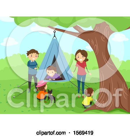 Clipart of a Happy Family with a Hanging Tent - Royalty Free Vector Illustration by BNP Design Studio