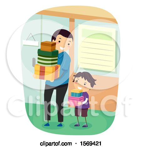 Clipart of a Father and Son Carrying Shopping Boxes - Royalty Free Vector Illustration by BNP Design Studio