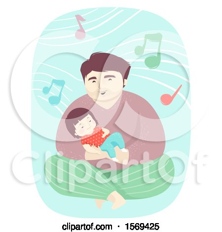 Clipart of a Toddler Girl Sleeping in Her Dads Arm As He Sings - Royalty Free Vector Illustration by BNP Design Studio