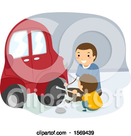 Clipart of a Father Teaching His Son How to Change a Tire - Royalty Free Vector Illustration by BNP Design Studio