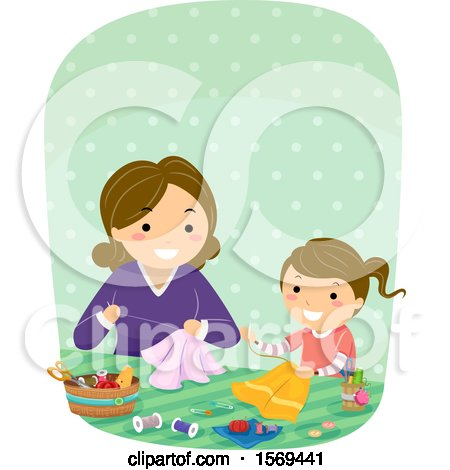 Clipart of a Mother Teaching Her Daughter a Sewing Craft - Royalty Free Vector Illustration by BNP Design Studio