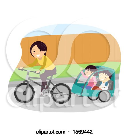 Clipart of a Mother Riding a Bike with Her Children in a Trailer - Royalty Free Vector Illustration by BNP Design Studio