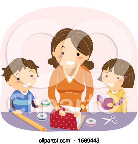 Clipart of a Mother Teaching Her Kids How to Wrap a Gift - Royalty Free Vector Illustration by BNP Design Studio