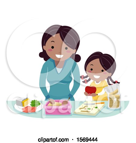 Clipart of a Mother and Daughter Preparing a Meal - Royalty Free Vector Illustration by BNP Design Studio