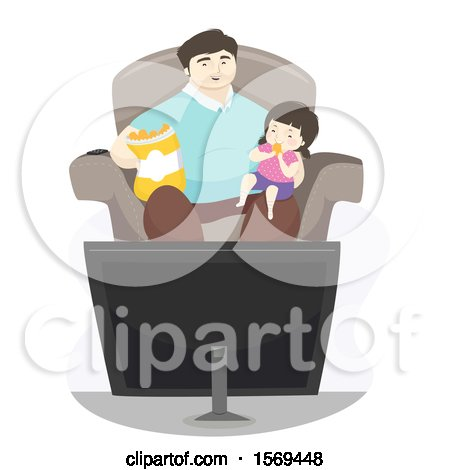Dad Watching a Movie with His Daughter Posters, Art Prints