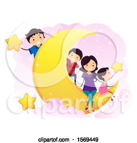 Clipart of a Happy Family on a Crescent Moon, with Stars - Royalty Free Vector Illustration by BNP Design Studio