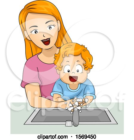 Clipart of a Toddler Boy Washing His Hands with His Mom - Royalty Free Vector Illustration by BNP Design Studio